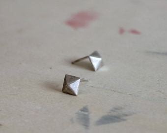 Pyramid stud earrings sterling silver studs geometric handmade earrings - MINI