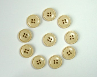 Set of 10 round buttons, 18 mm, cream, synthetic, 4 holes.