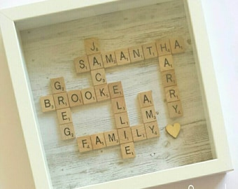 Personalised Scrabble Family Name Frame - Wall Art Birthday Gift Present