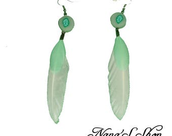 Nature white feather earrings