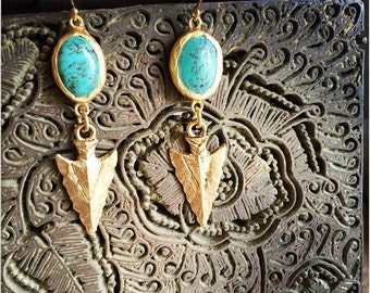 Turquoise Earrings,Turquoise Arrowhead Earrings,Gold Edged Turquoise,Gold Turquoise Earrings,Arrowhead Earrings,Turquoise Earrings,Roman