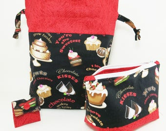 """Knitting Project Bag - New! """"Chocolate is the Best"""" 2 Piece Set (V)"""