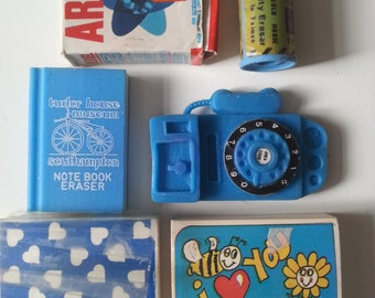 Vintage, 6, 80s,scented, Novelty erasers, rubbers, BLUE, Staedtler,1980s, by NewellJewels on etsy