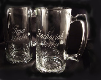 Personalized Etched Beer Mug - Sweetheart Mugs - Bride and Groom Gift - His and Hers Gift - Personalized Wedding Glassware - Wedding Party