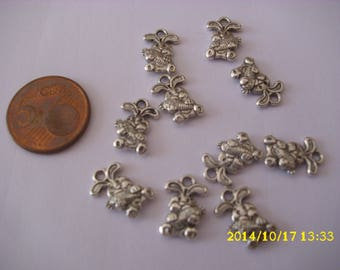 "set of 10 Charms/sterling silver ""rabbit"""