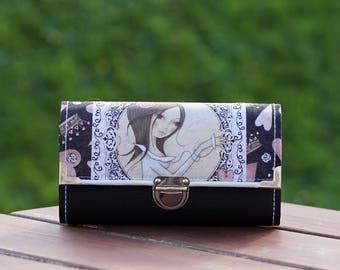 Womens Wallet, Smartphone Wallet, Mirabelle Wallet, 19x10cm, Long Wallet, Women's Wallet, Vegan Leather Wallet, Fabric Wallet, Purse