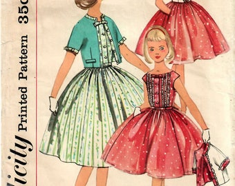 1950s Simplicity 2015 Vintage Sewing Pattern Girls One Piece Dress, Party Dress, Full Skirt Dress, Cropped Jacket,