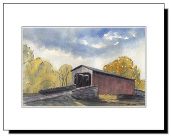 Covered Bridge in Lancaster County PA, Amish Country, Original Watercolor Mounted Print 11x14