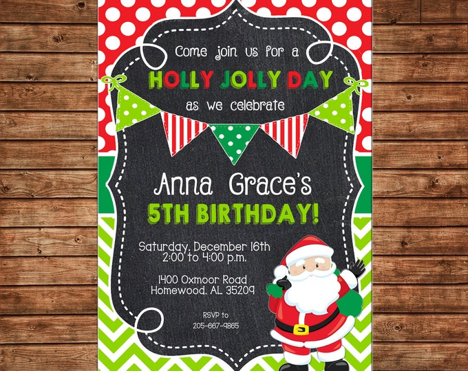Boy or Girl Christmas Santa Whimsical Birthday Party - Can personalize colors /wording - Printable File or Printed Cards