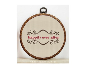 Happily Ever-Cross Stitch Pattern-Modern Sampler-Pdf-Instant Download