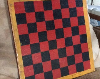 VINTAGE CHECKER BOARD, handmade, 1945, gameboard, wood craft, display, decor, primitive art