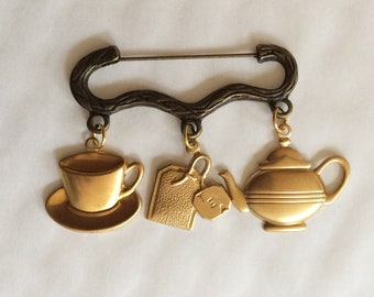 Time for Tea Cup of Tea charm bronze and gold tone brooch / pin Teapot, tea cup and tea bag charms