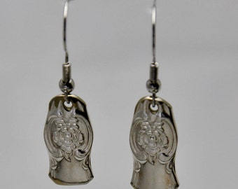 Earring made from Vintage Silverware with Single Flower on Front and Back Antique Silver Plated