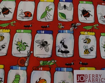 Bugs in jars are from Garden Critters Collection by Blank Quilting.  Quilt or Craft Fabric, Fabric by the Yard.