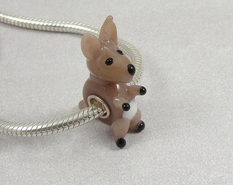 Kangaroo Large Hole Lampwork Glass Bead - 925 Sterling Silver European Bead Charm