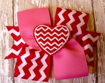 Pink and red chevron Valentine's bow