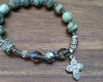 """Matte African Turquoise Jasper Rosary Bracelet, 6.5"""", Crucifix and Miraculous Medal"""