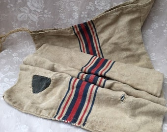 Antique FRENCH Timeworn Mended & Patched Hemp Linen Feed GRAIN SACK a Distressed Beauty direct from the Country Farm !!! Late 1800