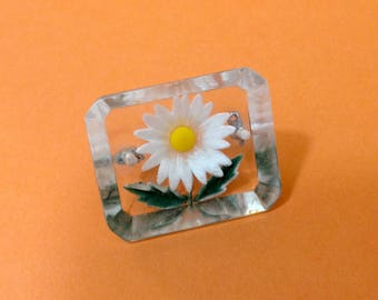Clear Lucite Daisy Brooch