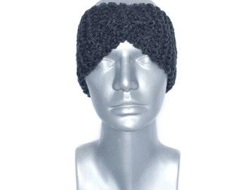 Gray Knit Headband, Chunky Twist Ear Warmer, Charcoal Knit Head Wrap, Grey Winter Headband, Head Warmer,