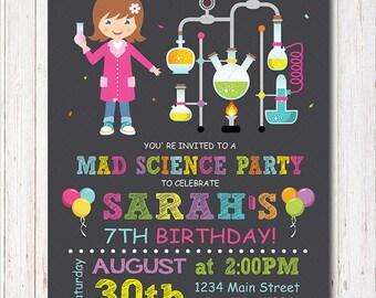 Mad Science invitation, Science invite, Science birthday, Mad science birthday, mad science invite, scientist party, Printable, girls Invite