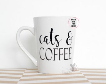 cats & COFFEE, Fur Mom, Pet Parent, 14 oz White Mug--Choose Your VINYL COLOR!