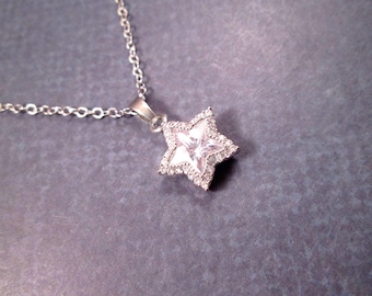 Cubic Zirconia Necklace, White Rhinestone Star Pendant, Silver Chain Necklace, FREE Shipping U.S.