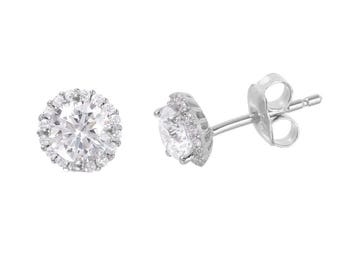Sterling Silver Rhodium Plated CZ Halo Stud earrings | Everyday Earrings | Bridesmaids Earrings |