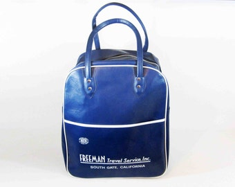 Vintage Tote Bag from Freeman Travel Service of South Gate, CA. Navy Blue and White. Retro Carry-on Luggage. Circa 1960's.