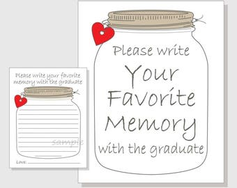 Favorite Memory with the Graduate Rustic Mason Jar Printable Cards and Sign for a Graduation Party - red hearts