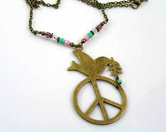 Peace Sign Necklace, Hippie Jewelry, Peace Dove Necklace, Peace Sign Jewelry, Hippie Necklace with Peace Dove Pendant, Handmade, N2106