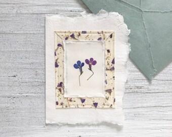 Pressed Lobelia Card & Envelope, pressed flower, pressed flower card, lobelia, handmade paper card, handmade card, wedding card, card