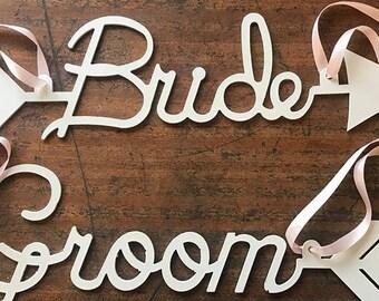 Bride and Groom Chair Signs- Boho Wedding - Wedding Sign