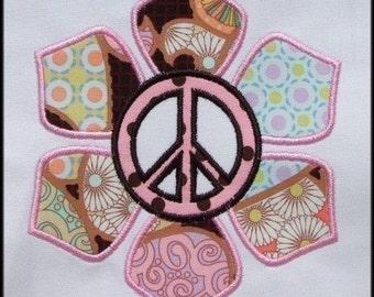 INSTANT DOWNLOAD Peace Flower Applique designs