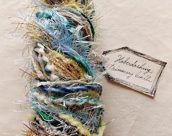 Beachcomber sky blue gold teal mix tinsel twine Novelty Fiber Yarn Sampler Bundle