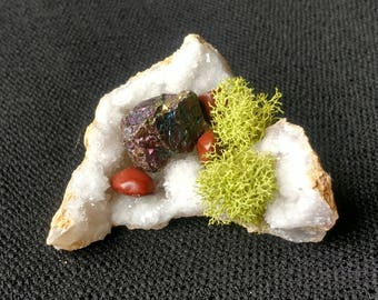 Crystal Cluster with Peacock Ore, Red Jasper and Quartz Mineral Specimen, Healing Crystal, Reiki, Meditation Stone, Altar Stones, Geode