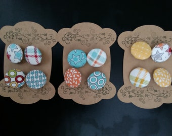 Stars and Check mixed Fabric Covered Buttons