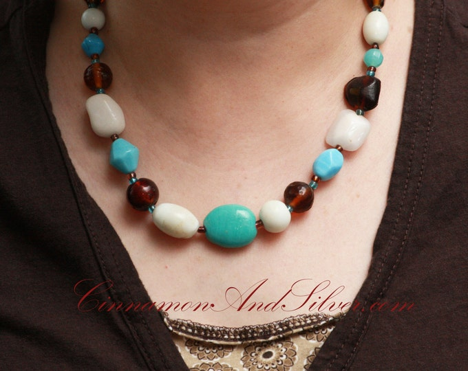 Brown, White, and Turquoise Southwestern Chunky Necklace, Blue and Brown Nugget Beaded Necklace, Turquoise Chunky Statement Necklace