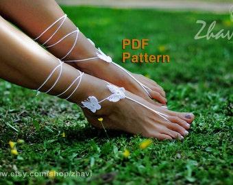 EASY CROCHET PATTERN, butterfly barefoot sandals pattern #7, Bridal sandals, Crochet Pdf pattern, Beach wedding
