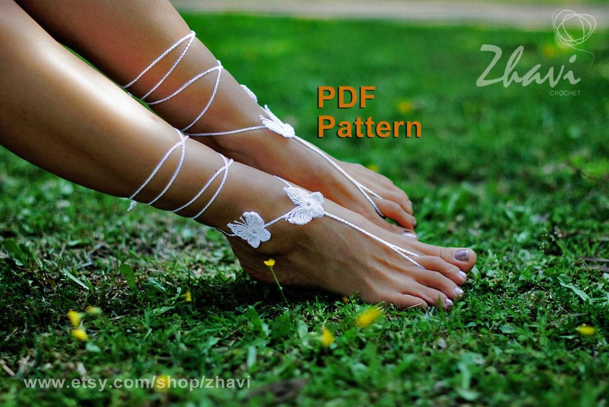EASY CROCHET PATTERN butterfly barefoot sandals pattern 7