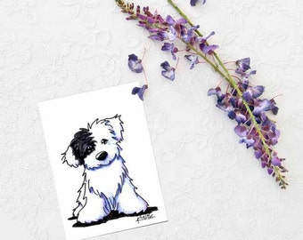 OES ORIGINAL Black and White Puppy Dog Art ACEO