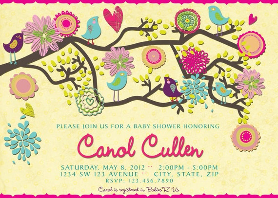 Birds baby shower invitation spring baby shower invitation filmwisefo Image collections