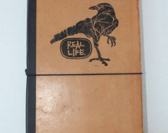 Leather refillable journal, handbound notebook, upcycled book