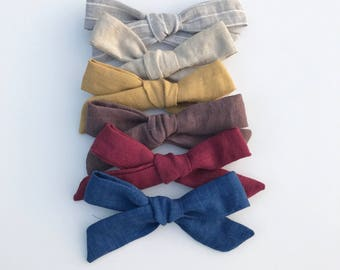 Linen bows, oversized bows, hand tied bows, fall bows, school girl bow
