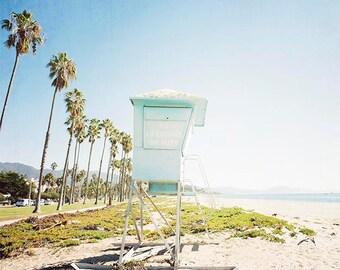 """Santa Barbara Beach Photography, California Beach, Lifeguard Tower, Beach House Wall Art, Blue Aqua Beige, Beach Art """"SB Tower"""""""