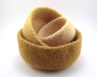 Felted wool nesting bowls - felted bowl set - mustard, yellow and butter yellow