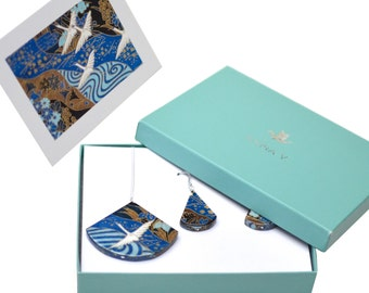 """First Anniversary Gift / Paper Jewelry / First Wedding Anniversary Gift for Her / """"Eternity"""" Paper Earrings, Necklace, Box + Card"""