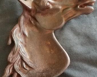 Vintage IRON ART Horse Head Trivet Signed JM 70