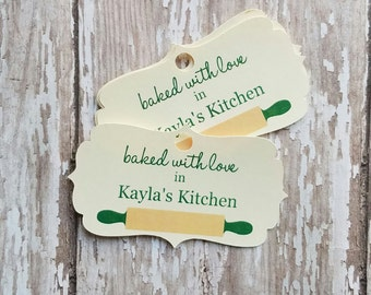 Baked with Love Tag, From My Kitchen to Yours, Rolling Pin, Christmas Baked Goods, Baked Goods, Food Label, Jar Tag, Jar Label (099)