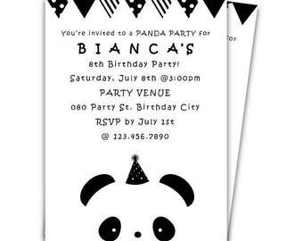 Panda Birthday Invitation, Panda Party, Black and White, Birthday Party Invitation